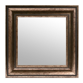Antiqued Silver Square Framed Mirror, 17x17