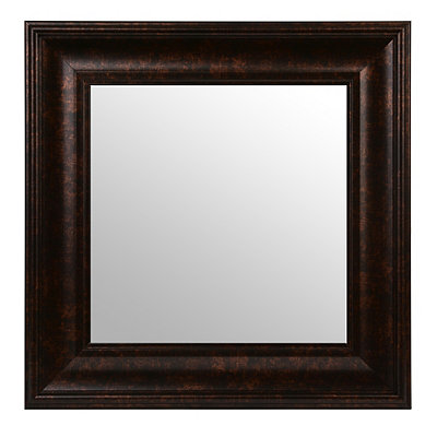 Dark Bronze Square Framed Mirror, 17x17