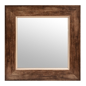 Natural Brown Square Framed Mirror, 17x17