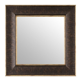 Textured Brown Square Framed Mirror, 17x17