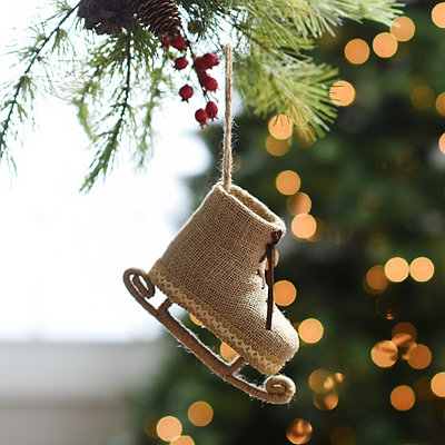 Burlap Ice Skate Ornament