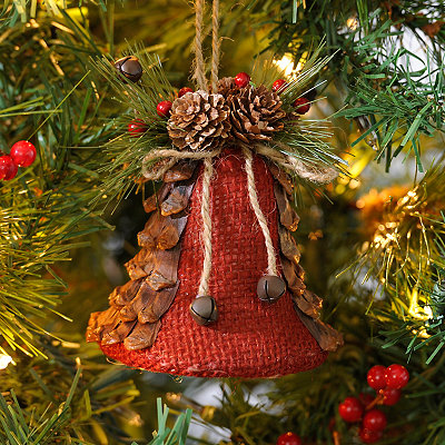 Red Burlap Bell Ornament