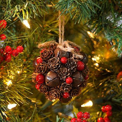 Pine Cone & Bells Ornament