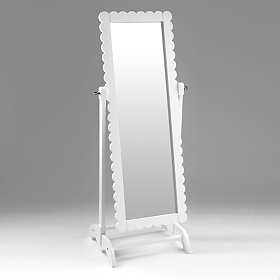 White Scalloped Kids Cheval Mirror