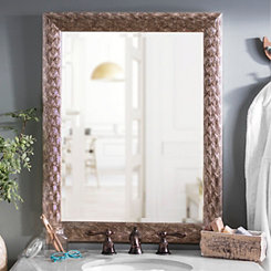 Silver Peacock Framed Mirror, 28x34 in.