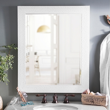 White Squares Framed Mirror 28x34 In