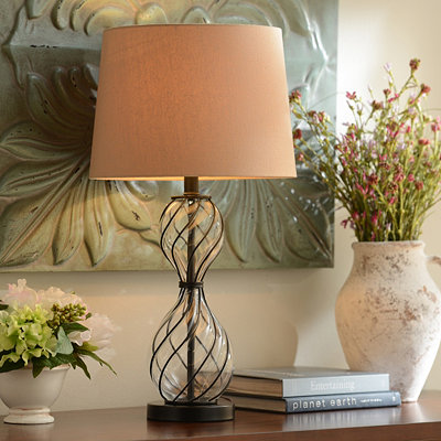 Bronze Swirls Mercury Glass Table Lamp