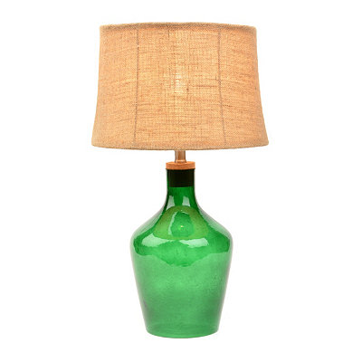 Emerald Glass Fillable Table Lamp