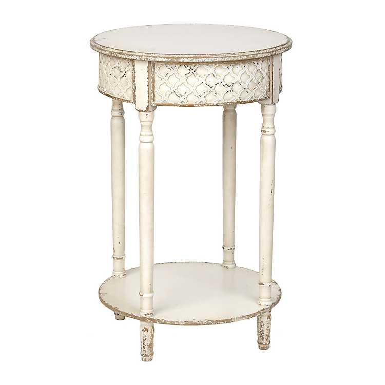 distressed white round accent table kirklands. Black Bedroom Furniture Sets. Home Design Ideas