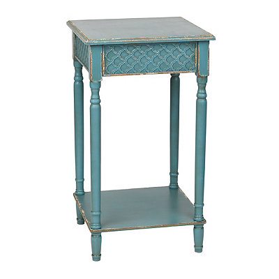 Distressed Blue Square Accent Table