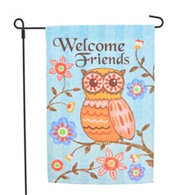 Welcome Friends Owl Garden Flag