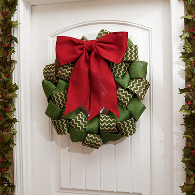 Burlap Chevron Ribbon Wreath, 22 in.