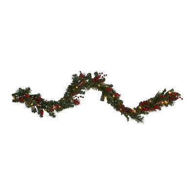 Pre-Lit Flocked Pine & Berry Garland, 6 ft.
