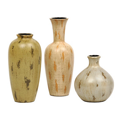 Rustic Cottage Vases, Set of 3