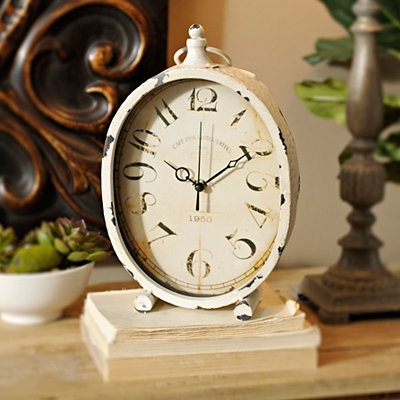 Distressed Cream Tabletop Clock