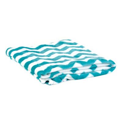 Turquoise & White Chevron Throw Blanket