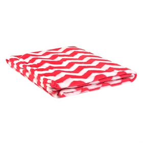 Pink & White Chevron Throw Blanket