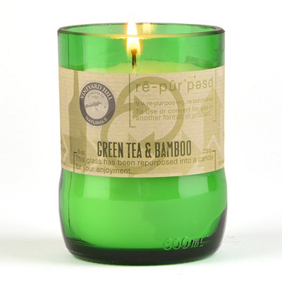 Green Tea & Bamboo Repurposed Candle, 8 oz.