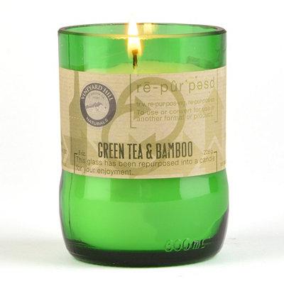 Green Tea & Bamboo Repurposed Candle, 8 oz.