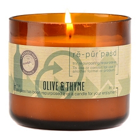 Olive and Thyme Repurposed Candle, 11 oz.
