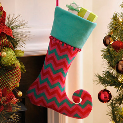 Blue and Pink Chevron Dazzle Stocking