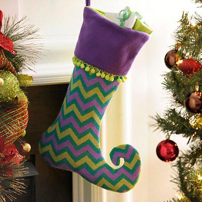 Purple and Green Chevron Dazzle Stocking