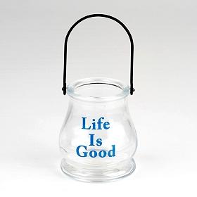 Life is Good Glass Lantern