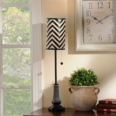 Black and White Chevron Buffet Lamp