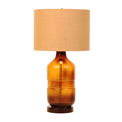 Brown Glass Barrel Table Lamp