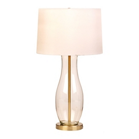 Clear Glass and Brass Table Lamp