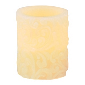 Ivory Scroll LED Pillar Candle, 4 in.
