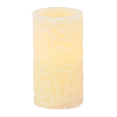 Ivory Scroll LED Pillar Candle, 6 in.