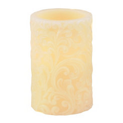 Ivory Scroll LED Pillar Candle, Large