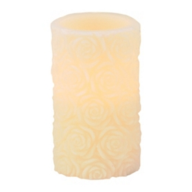 Ivory Roses LED Pillar Candle, 6 in.