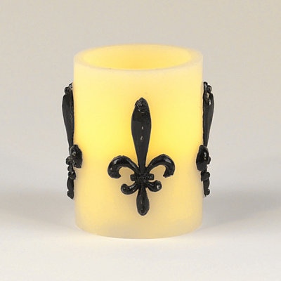 Ivory Fleur-de-lis LED Pillar Candle, 4 in.