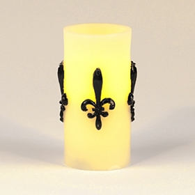 Ivory Fleur-de-lis LED Pillar Candle, 6 in.
