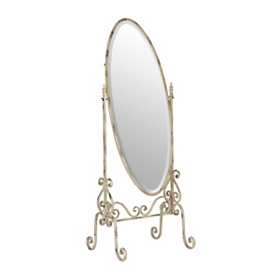 Distressed Cream Cheval Mirror