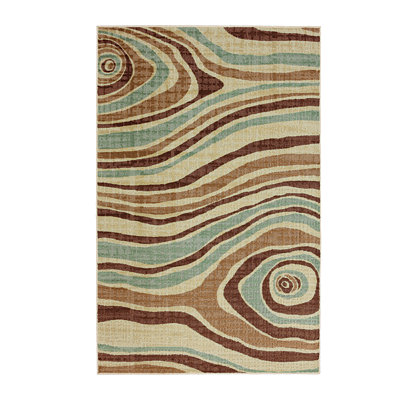 Blue and Brown Cyclone Area Rug, 5x8