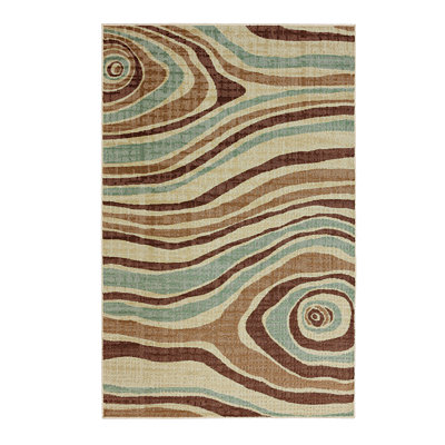 Blue and Brown Cyclone Area Rug, 8x10