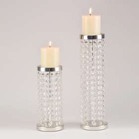 Crystal Bead Candle Holders, Set of 2