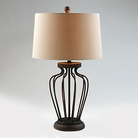 Textured Brown Metal Table Lamp