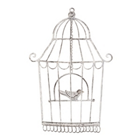 Antique White Bird Cage Plaque, Small