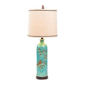 Turquoise Bird and Vine Table Lamp
