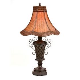 Metal Rattan Table Lamp