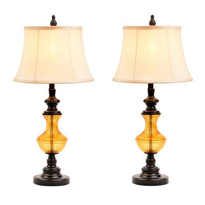Bronze and Amber Table Lamps, Set of 2