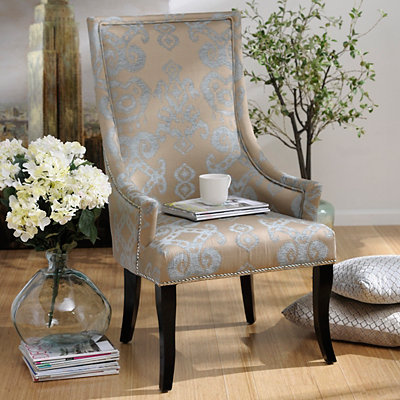 Chatham Blue Damask Arm Chair