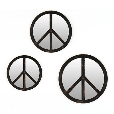Peace Sign Distressed Black Mirrors, Set of 3