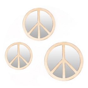 Peace Sign Distressed White Mirrors, Set of 3
