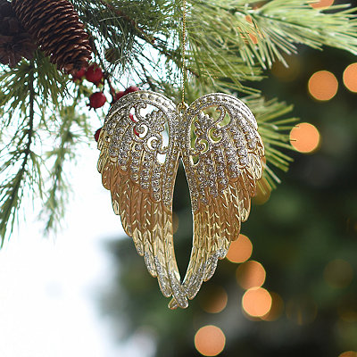 Golden Shimmer Angel Wings Ornament