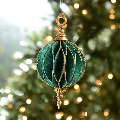 Teal and Gold Finial Ornament